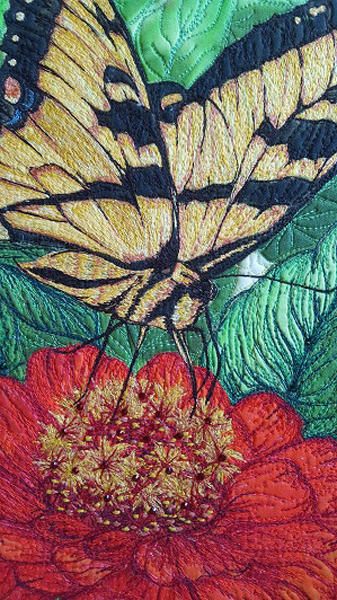 Dimensional Thread Painting on Orange Zinnia and Butterfly Panel