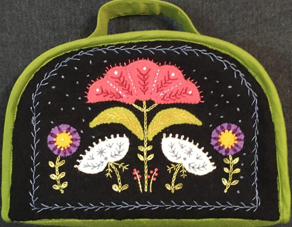 Wool Applique Sewing Bag with Embroidery